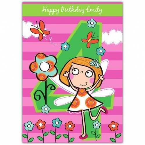 Fairy Happy 4th Birthday Card