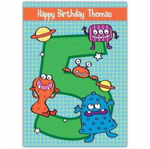 Aliens Happy 5th Birthday Card