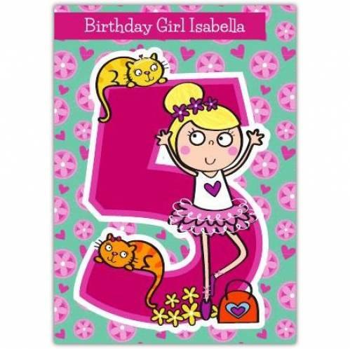 Flower Girl Happy 5th Birthday Card