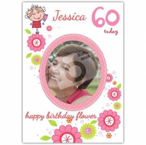 Floral Photo Happy 60th Birthday Card