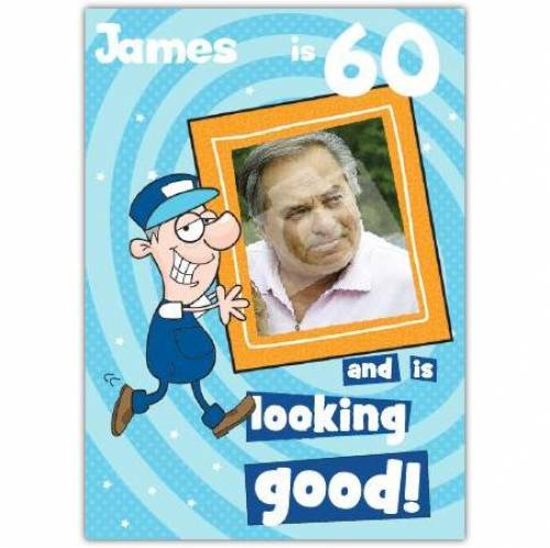 Cartoon Photo Frame Happy 60th Birthday Card