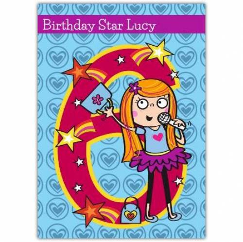 Birthday Star Girl Happy 6th Birthday Card