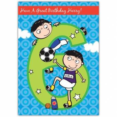 Birthday Football Happy 6th Birthday Card
