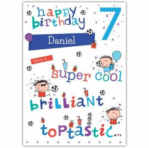 Super Cool Happy 7th Birthday Card