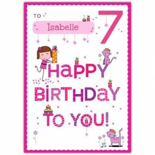 Happy Birthday To You Happy 7th Birthday Card