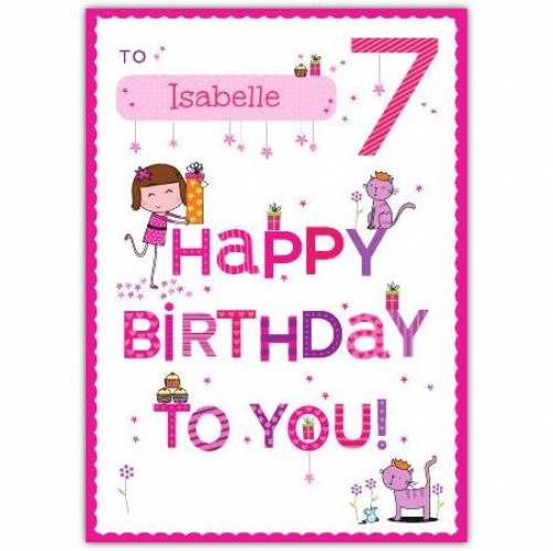 Happy Birthday To You Happy 7th Birthday Card