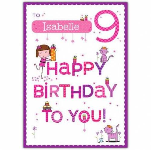 Happy Birthday To You Happy 9th Birthday Card