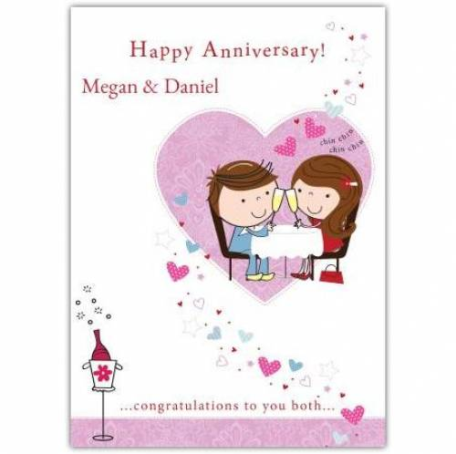 Cartoon Happy Anniversary Card
