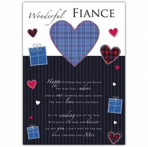 Wonderful Fiance Birthday Card