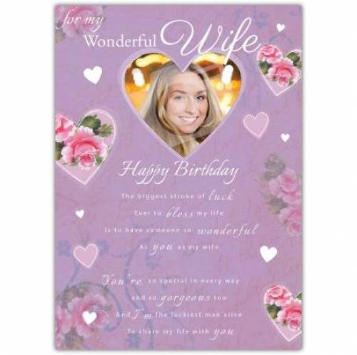 To My Wonderful Wide Hearts Birthday Card