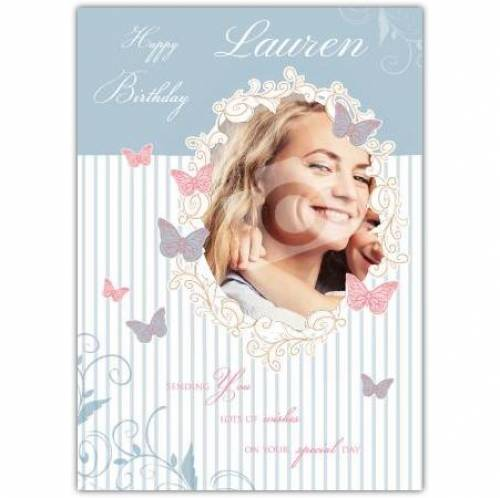 Happy Birthday Butterflies Photo Birthday Card