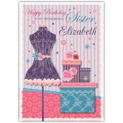 To My Wonderful Sister Happy Birthday Card