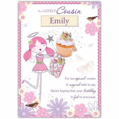 To A Lovely Cousin Angel Birthday Card