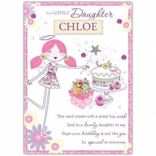To A Lovely Daughter Angel Birthday Card