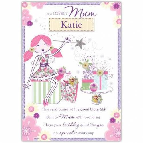 To A Lovely Mum Angel Birthday Card