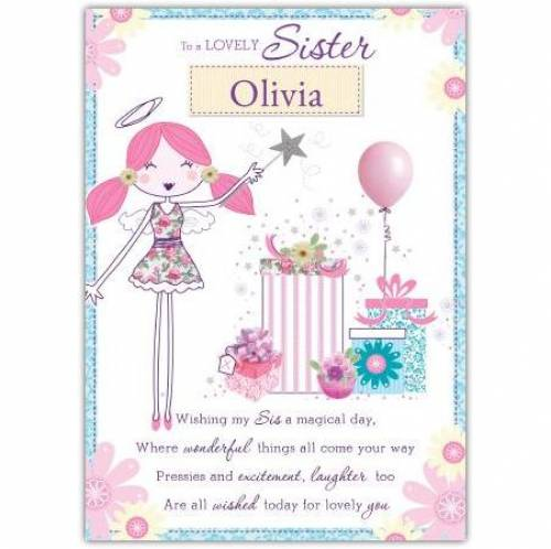 To A Lovely Sister Angel Card
