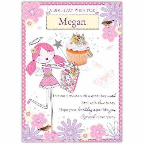 A Birthday Wish Angel Cupcake Card