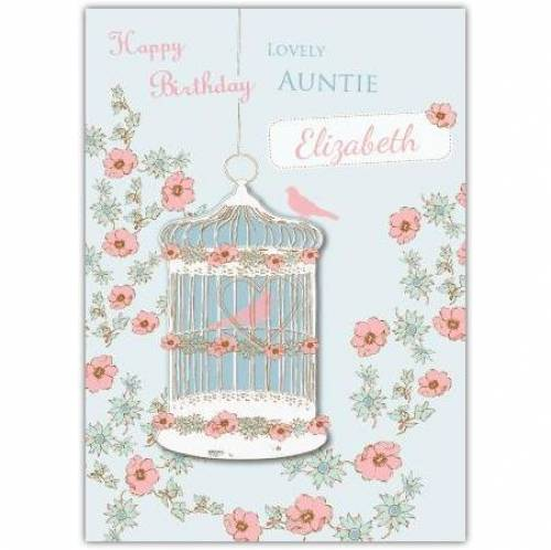 Lovely Auntie Birdcage Birthday Card