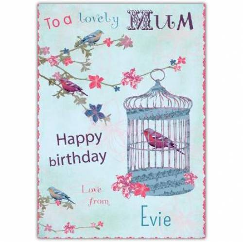 To A Lovely Mum Birdcage Birthday Card