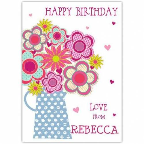Happy Birthday Jug Of Flowers Birthday Card