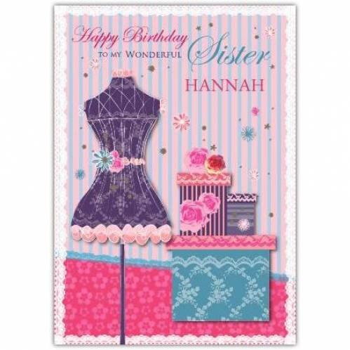 To My Wonderful Sister Fashion Birthday Card