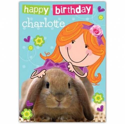 Cute Rabbit Happy Birthday Card