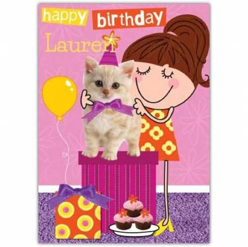 Cute Kitten Happy Birthday Card