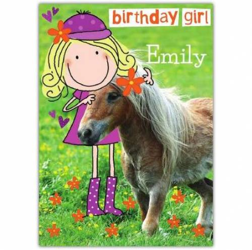Cute Pony Happy Birthday Card