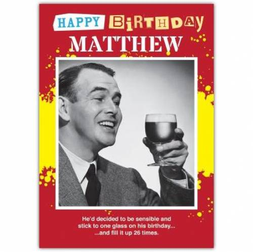 One Glass Birthday Card