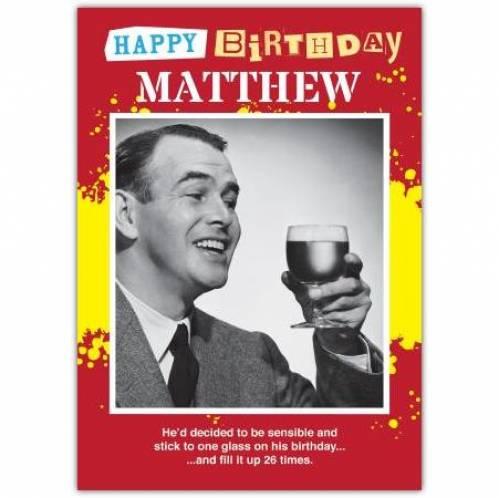 One Glass Birthday Card