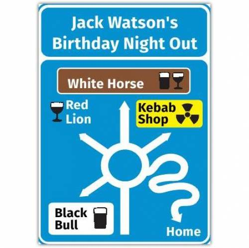 Birthday Night Out Road Sign Birthday Card