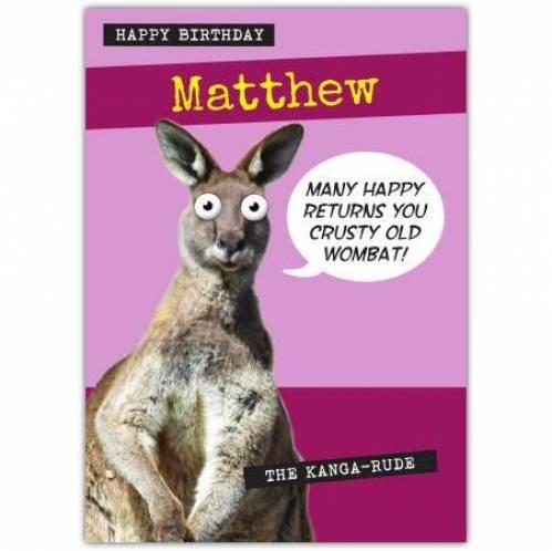 Crusty Old Wombat Birthday Card