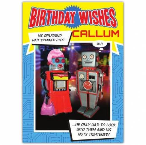Nuts Tightened Robot Birthday Card