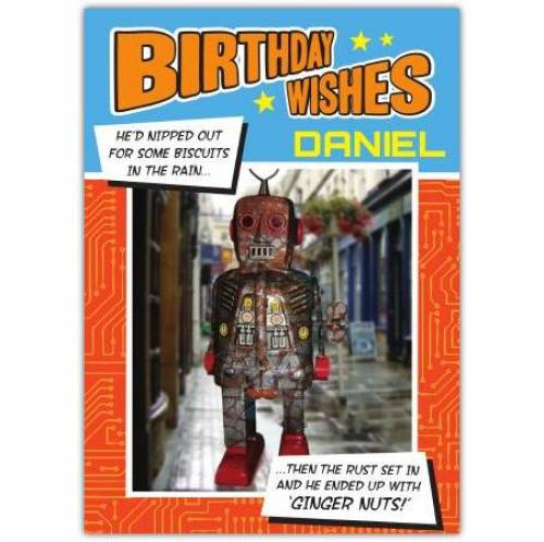 Ginger Nuts Robot Birthday Card