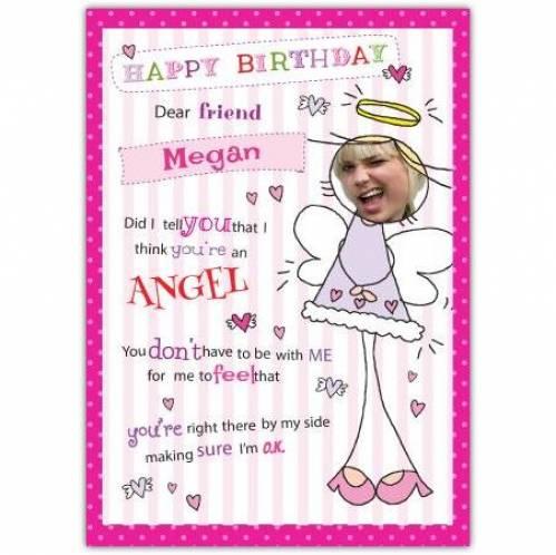 Dear Friend Female Angel Birthday Card