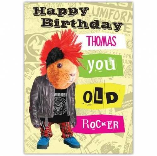 You Old Rocker Guinea Pig Birthday Card