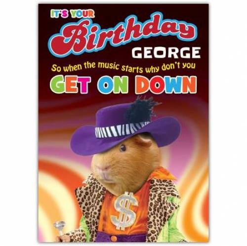 Get On Down Pimp Birthday Card