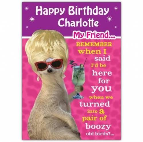 Boozy Old Birds Birthday Card