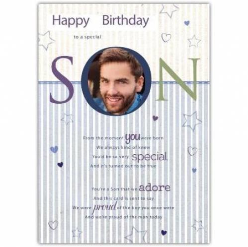 Special Son Photo Birthday Card