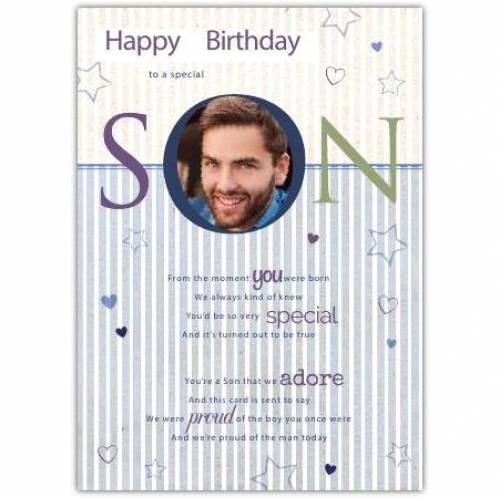 Special Son Photo Birthday Card