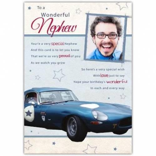 Wonderful Nephew Sports Car Birthday Card