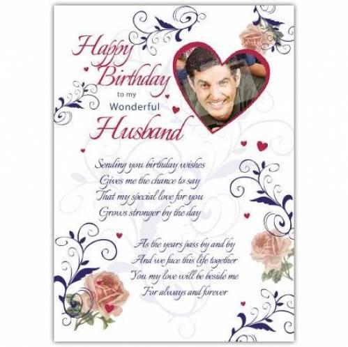 Wonderful Husband Heart Photo Birthday Card