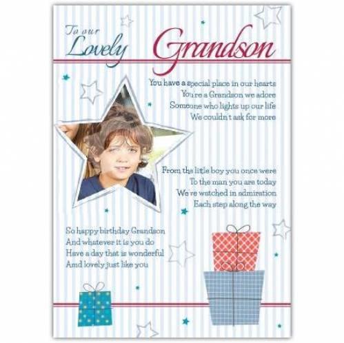 Lovely Grandson Photo Birthday Card