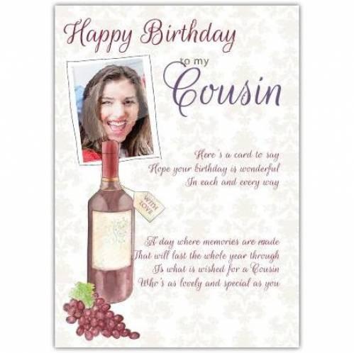 Cousin Wine Photo Birthday Card