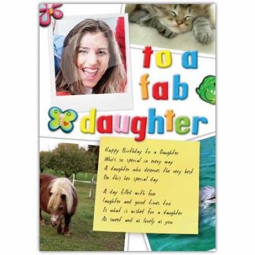Fab Daughter Photo Birthday Card