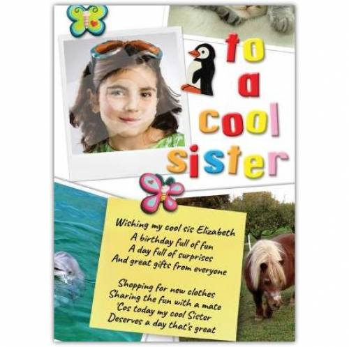 Cool Sister Photo Birthday Card