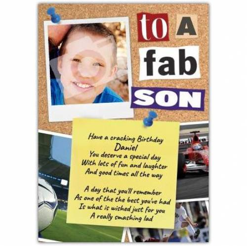 Fab Son Photo Birthday Card