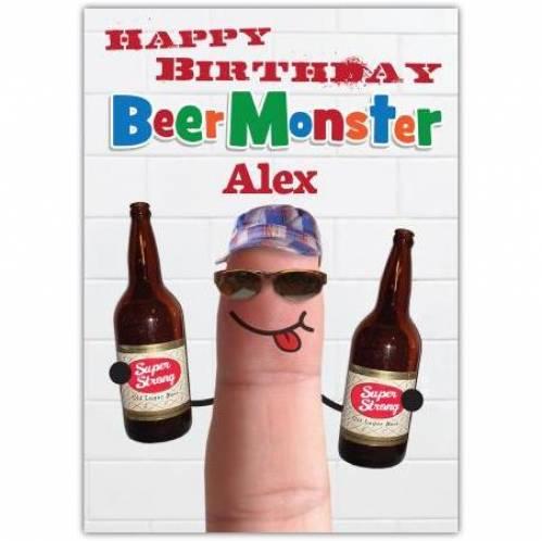 Beer Monster Birthday Card