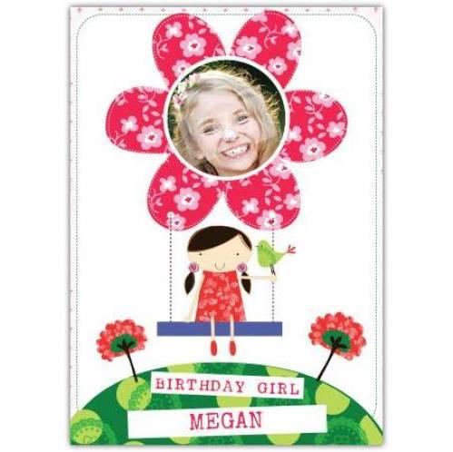 Birthday Girl Flower Photo Birthday Card