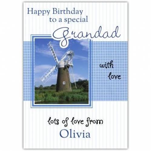 Special Grandad Windwill Birthday Card